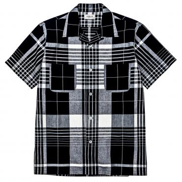 INDIGO CHECK OPEN COLLAR SHIRT